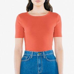 American Apparel Orange Cotton Rib Fitted Tshirt